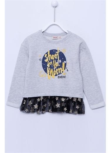 Silversun Kids Sweat Shirt Örme Uzun Kollu Baskılı Tüllü Sweatshirt Kız Çocuk Js-213045 Gri